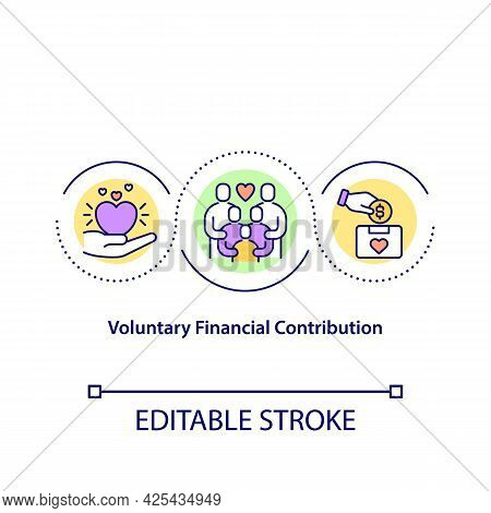 Voluntary Financial Contribution Concept Icon. Charity Organization For Collecting Funds. Money Coll