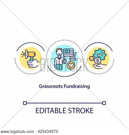 Grassroots Fundraising Concept Icon. Money Gathering Methods. Funding Campaigns With Money Investmen