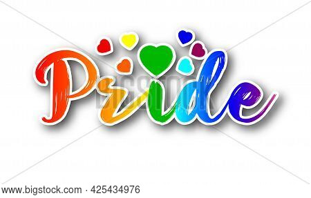 Gay Pride Or Lgbt Party Sticker. Symbol Of Pride Month, Lgbtq Concept, Equality And Love Concept