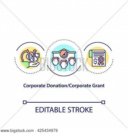 Corporate Donation And Corporate Grant Concept Icon. Money Collection Strategy. Funds Investment Ide