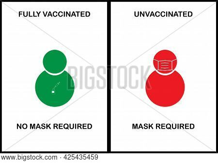 Face Mask Not Required For Fully Covid-19 Vaccinated And Required In Unvaccinated Banner.