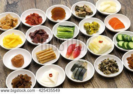Japanese pickles (Tsukemono) assortment, traditional fermented food