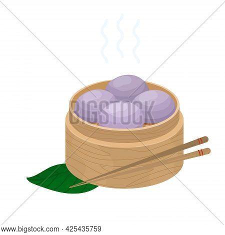 Purple Sweet Taro Steamed Buns. Chinese Pastries With Purple Sweet Potato Yam Bao Ube Pao. Vector Of