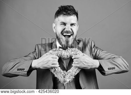 Man Formal Suit Celebrate Valentines Day Green Background. Spread Love Around. Happy In Love. Romant