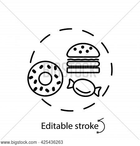 Sweets And Junk Food Concept Outline Concept Icon. Kids Menu. Bad Eating Habits. Healthy Eating Prog