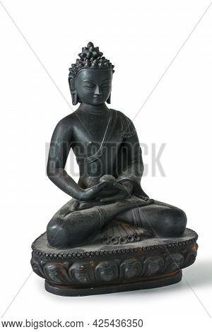 Black Statue Of Buddha Isolated On White Background