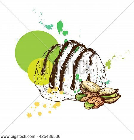 Scoop Of Pistachio Ice Cream Sketch With Pistachios, Isolated On White Background. Creative Composit