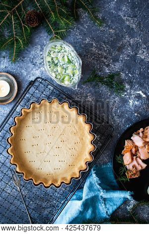 Homemade pie crust on  a cooling tray