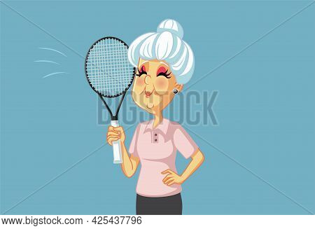 Sporty Cartoon Grandma Playing Tennis Holding Racket