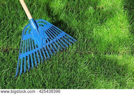 Raking Grass Sod On Backyard, Closeup. Space For Text