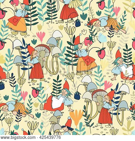 Seamless Pattern With Funny Female Gnome Gathering Berries, Mushrooms, Flowers. Fairy Tale Elf Girls