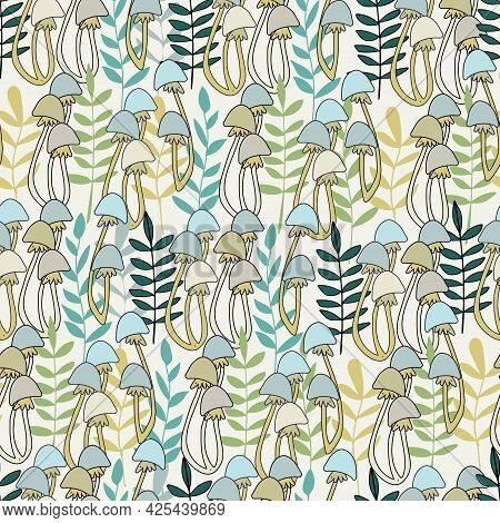 Seamless Pattern With Mushrooms And Plants Vector Illustrations In Cartoon Style