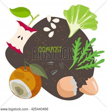 Compost. Kitchen Scraps, Fruits, Greens, Shells Lie On Ground. Eco-friendly Zero Waste Template. Rec
