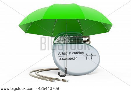 Artificial Cardiac Pacemaker Pump Under Umbrella, 3d Rendering Isolated On White Background