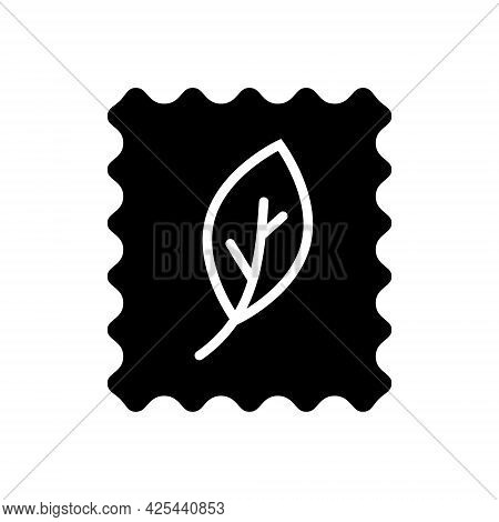 Organic Material Label Glyph Icon. Fabric Feature. Textile Industry. Material Quality. Fiber Type. B
