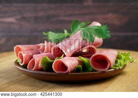 Cold Smoked Meat Plate, Antipasto Set Platter Wooden Plate. Cold Smoked Meat Plate With Sliced Ham,