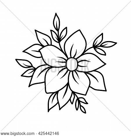 Simple Sketch With A Flower And Leaves. Vector Illustration Outline Hand Drawn