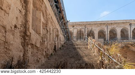 Steps Leading To The Upper Tier Of The Fortress Walls Of The Fortress Walls In The Courtyard Of The