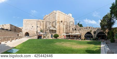 Acre, Israel, June 26, 2021 : Fortress Walls And Fortress Courtyard Near The Museum In The Fortress