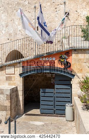 Acre, Israel, June 26, 2021 : The Entrance To The Crusader Fortress Near The Museum In The Fortress