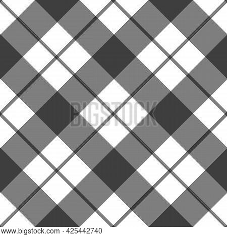 Black White Seamless Gingham Pattern. Checkered Fabric, Plaid, Tablecloth, Napkin, Textile. Square T
