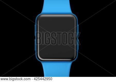Stainless Blue Smart Watch Or Fitness Tracker Isolated On Black Background.