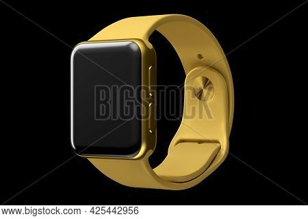 Stainless Gold Smart Watch Or Fitness Tracker Isolated On Black Background.