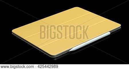 Computer Tablet With Gold Cover Case And Pencil Isolated On Black Background.