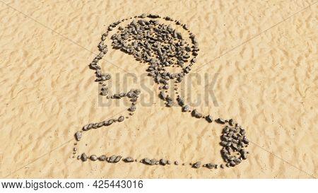 Concept conceptual stones on beach sand handmade symbol shape, golden sandy background, sign of human brain.  A 3d illustration metaphor for science, intelligence, anatomy, neurology, brainstorming