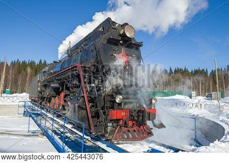 Ruskeala, Russia - March 10, 2021: Soviet Retro Steam Locomotive Of The
