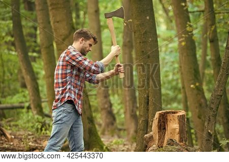 Force Is Required. Survive In Wild Nature Concept. Man With Axe In The Forest. Cutter Going To Cut T