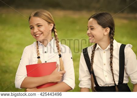 Happy Children In Pigtails Smile In Formal Uniforms After School Day Outdoors, Happiness