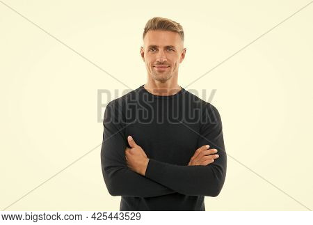 Good Looking Guy Isolated On White. Male Fashion Style. Mens Beauty. Mature Handsome Man With Hairst
