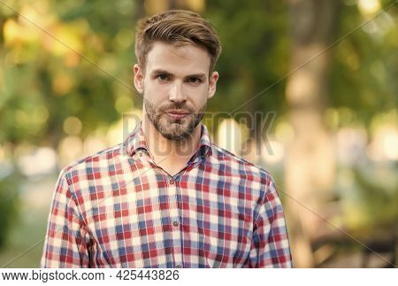 Handsome Man With Bristle Wear Checkered Shirt Outdoor, Male Fashion
