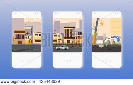 Abandoned City Buildings. War Zone, Disaster. Mobile App Screens, Vector Website Banner Template. Ui