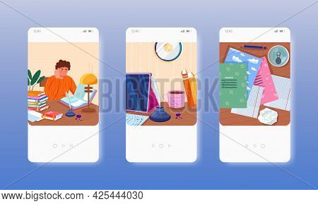 Writer, Student Writing, Working, Studying. Mobile App Screens, Vector Website Banner Template. Ui,