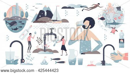 Clean Water Elements With Pure Drinking Droplets Tiny Person Collection Set. Purified Rain Liquid Fo