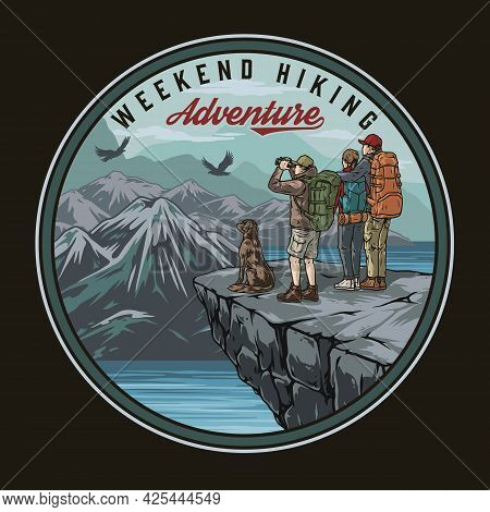 Hiking Vintage Colorful Round Emblem With Dog Couple And Traveler With Binoculars Standing On Cliff