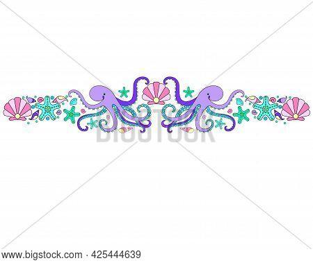 Marine Divider, Border, Octopus, Starfish, Shells, Bulbs, Pearls - Vector Full Color Symmetrical Hor