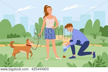 People Cleaning Up After Dog Pet, Man Character Holding Plastic Bag In Hand To Clean Poop