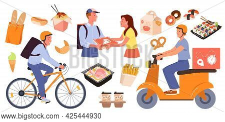 Cartoon Fastfood Delivery Collection With Online Order From Mobile App On Phone, Courier Delivering