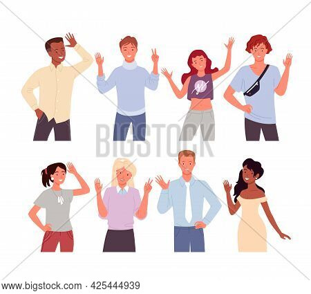 Cartoon Diverse Happy Young Man Woman Characters Smiling And Standing With Welcome Gesture, Greet, S