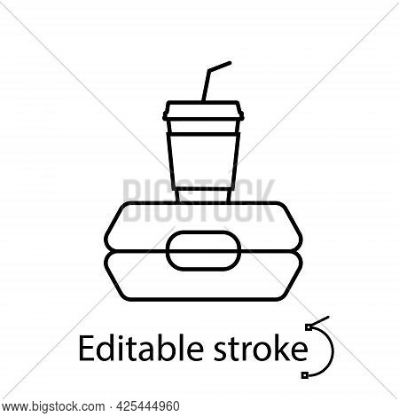 Lunchbox With Coffee Cup Outline Icon. School Meal Concept. Customizable Linear Contour Symbol. Edit