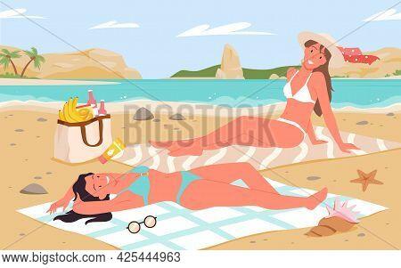 Girls Sunbathe On Tropical Sea Beach Landscape, Summer Vacation Tourism Of Young Women