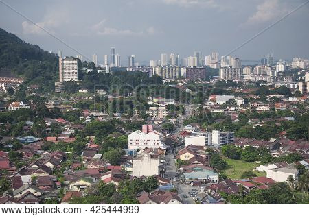 The City Of Air Itam, Penang Malaysia Seen From An Aerial View From The Kek Lok Si Temple Atop Penan