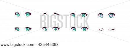 Anime Manga Girl Expressions Eyes Set. Japanese Cartoon Style