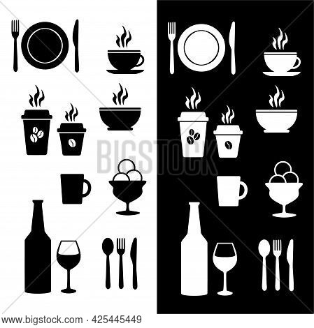 Vector Illustration Of A Set Of Icons For A Cafe Or Restaurant. Isolated Image Of Kitchen Utensils.