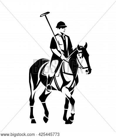 Jockey Holding Mallet And Riding Polo Pony Horse - Horseback Sportsman Black And White Vector Design