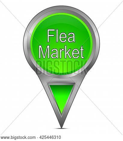 Map Pointer With Flea Market Green - Illustration
