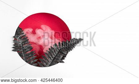 A Red Round Hole From Which Black Fern Leaves With White Smoke Grow. Creative Modern Floral And Abst
